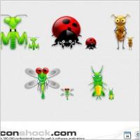 蚂蚁蝗虫蜻蜓七星瓢虫螳螂图标矢量图素材