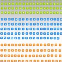 蓝色绿色黄色常用网页ico图标素材