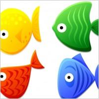 蓝色绿色红色黄色金鱼ico图标素材