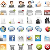 网页信息提示图标和用户头像矢量图素材