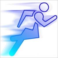 蓝色跑步飘影png图标矢量图素材