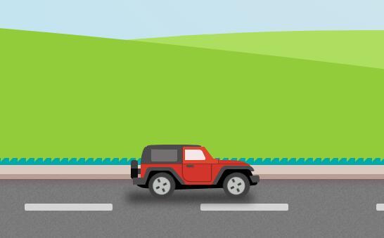 汽车在草原上行驶的css3动画样式代码