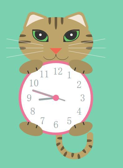 jquery猫咪动画时钟网页特效代码