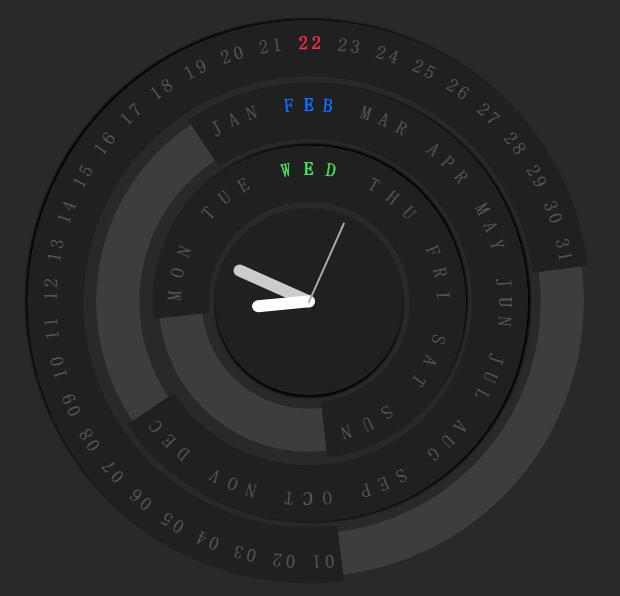 html5网页时钟盘jquery旋转特效代码