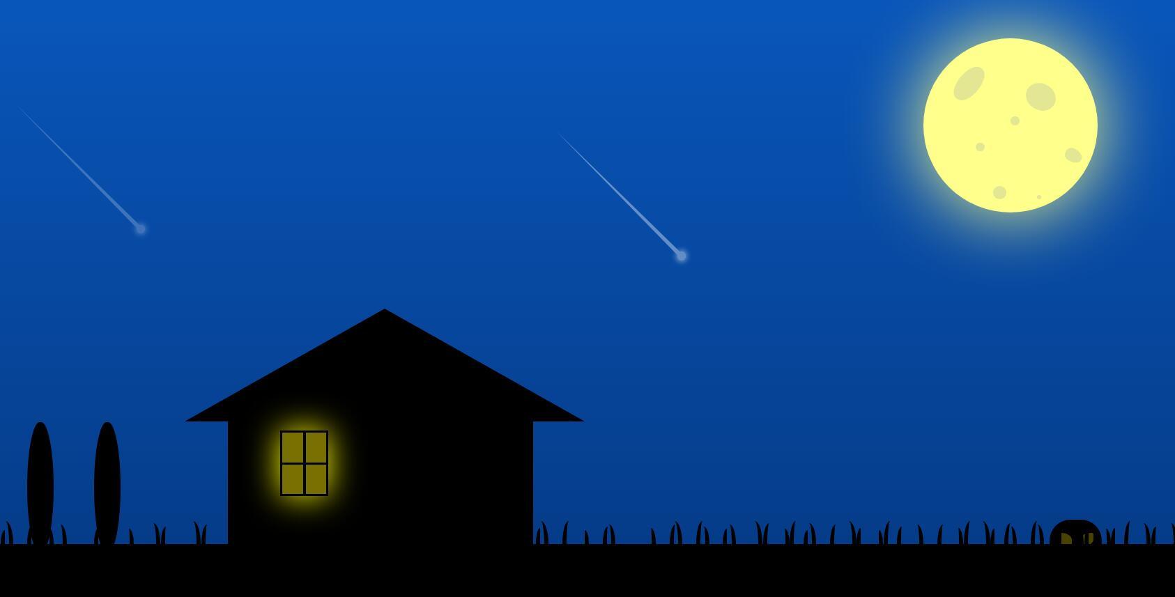 html5 css3制作乡村田野夜色流星月亮样式代码