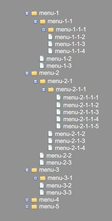文件夹tree树状结构多级导航菜单栏效果的javascript特效网页代码