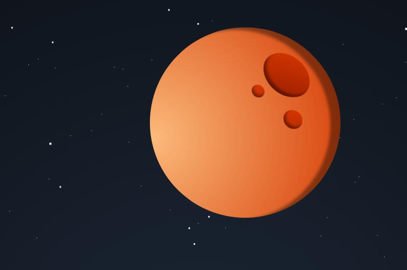 css3绘制太空月球和星星飘动效果的html代码