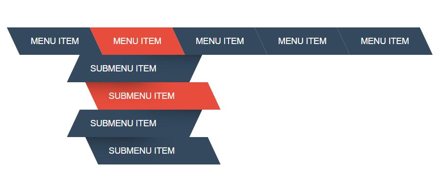 html5css3之字形下拉菜单设计网页特效代码