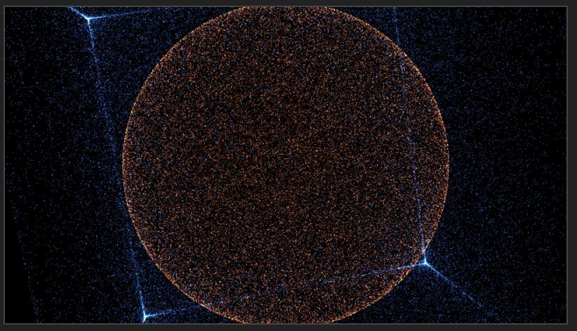 html5 canvas圆形立方体图形100000个粒子移动动画JavaScript代码
