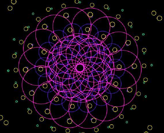 彩色光环颜色变化放大缩小旋转动画canvas特效代码