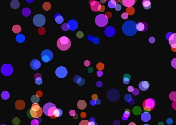 canvas画布绘制彩色颗粒圆形随鼠标移动而旋转特效js代码