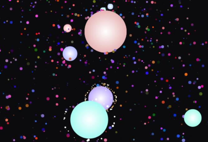 canvas画布模拟浩瀚宇宙中行星旋转轨迹特效JavaScript代码素材