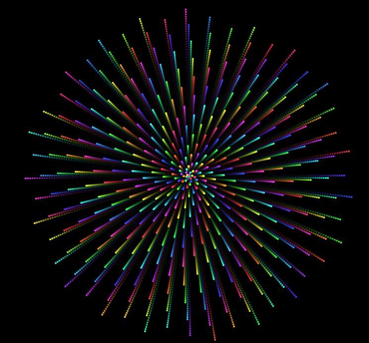 html5 canvas画布图形颗粒放射性动画特效JavaScript代码