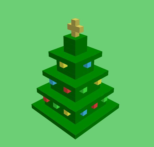 网页3D圣诞树动画特效div css代码素材案例