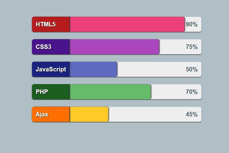 使用html5css3 jQuery代码制作类型占比例横向进度条动画特效代码