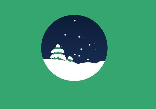 div css雪花飘飘圣诞节场景动画特效网页素材代码