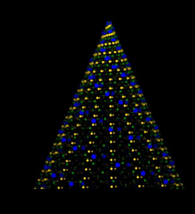 canvas画布圣诞树灯光闪闪旋转特效JavaScript代码