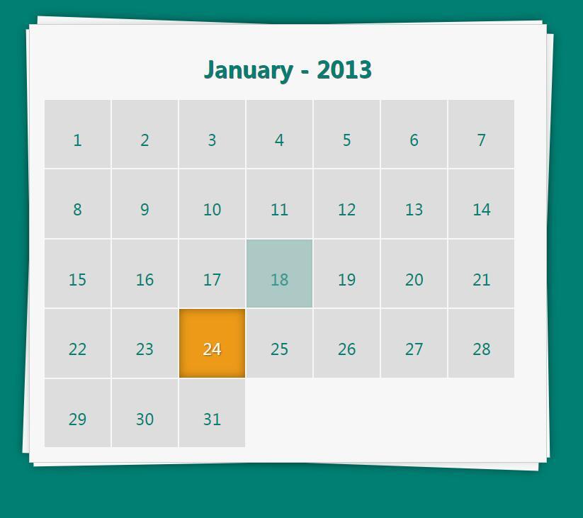css3折叠倾斜阴影特效网页日历样式代码