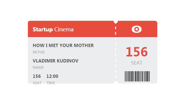css3样式模仿电影票纸张特效网页素材