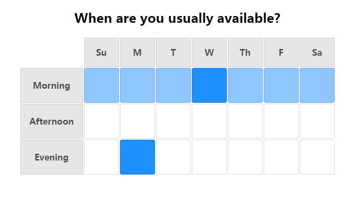 table星期早中晚时间段选择器特效网页模板代码