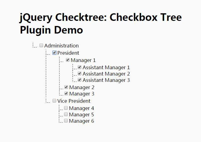 jQuery CheckBox tree树状结构全选全取消插件代码