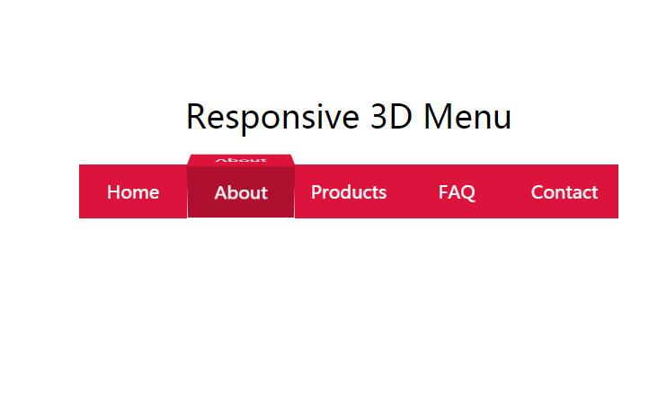 css3响应3D菜单导航栏动画特效网页代码
