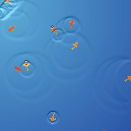 html5 canvas鼠标移过波浪花纹显示金鱼游走动画JavaScript代码
