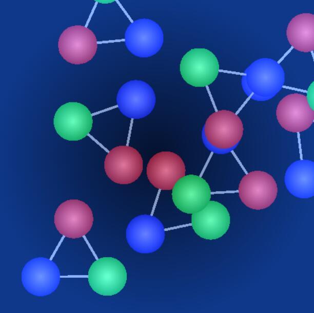 html5 canvas彩色球形动画移动鼠标触碰粒子分解特效JavaScript代码