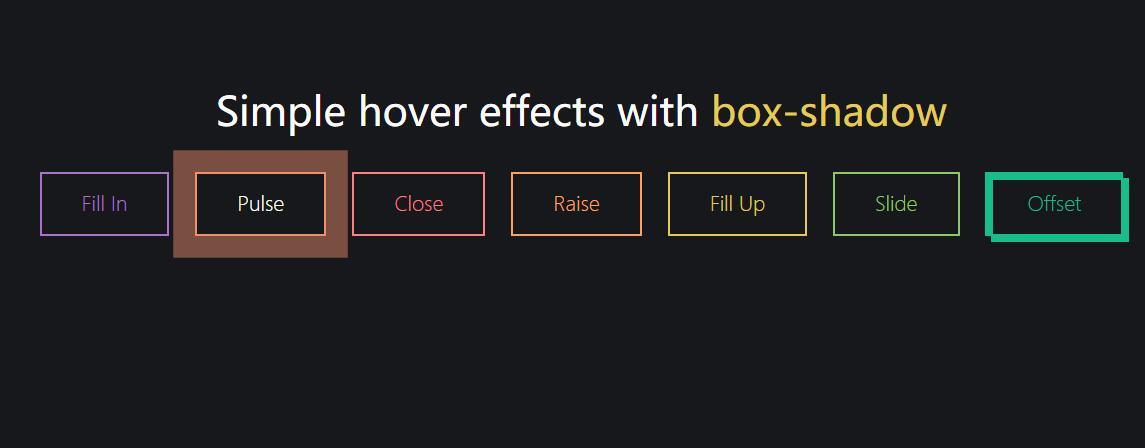 鼠标hover悬停带有框阴影button按钮特效css3动画样式代码