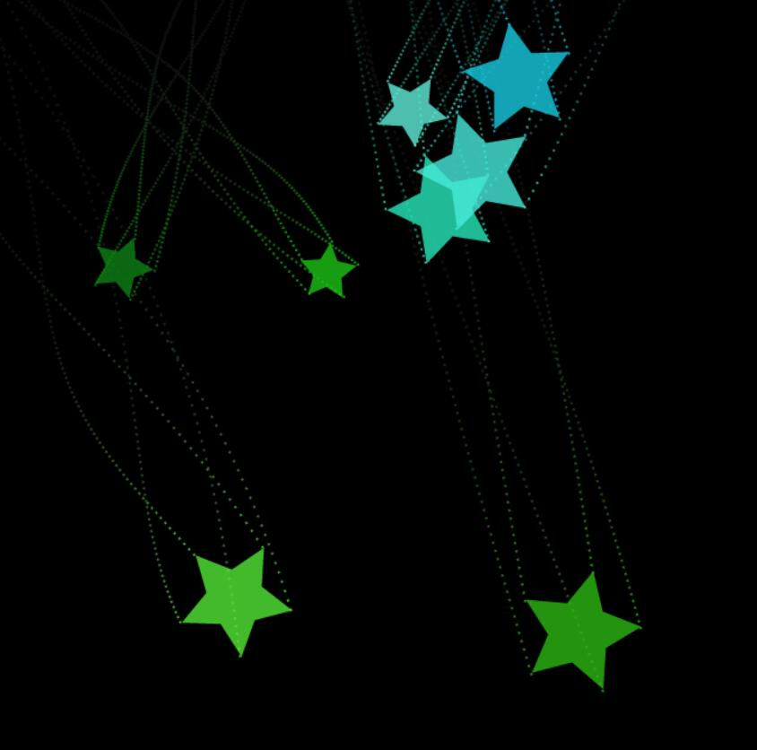 html5 canvas画布落下彩虹星星顶点上有尾巴特效动画JavaScript代码