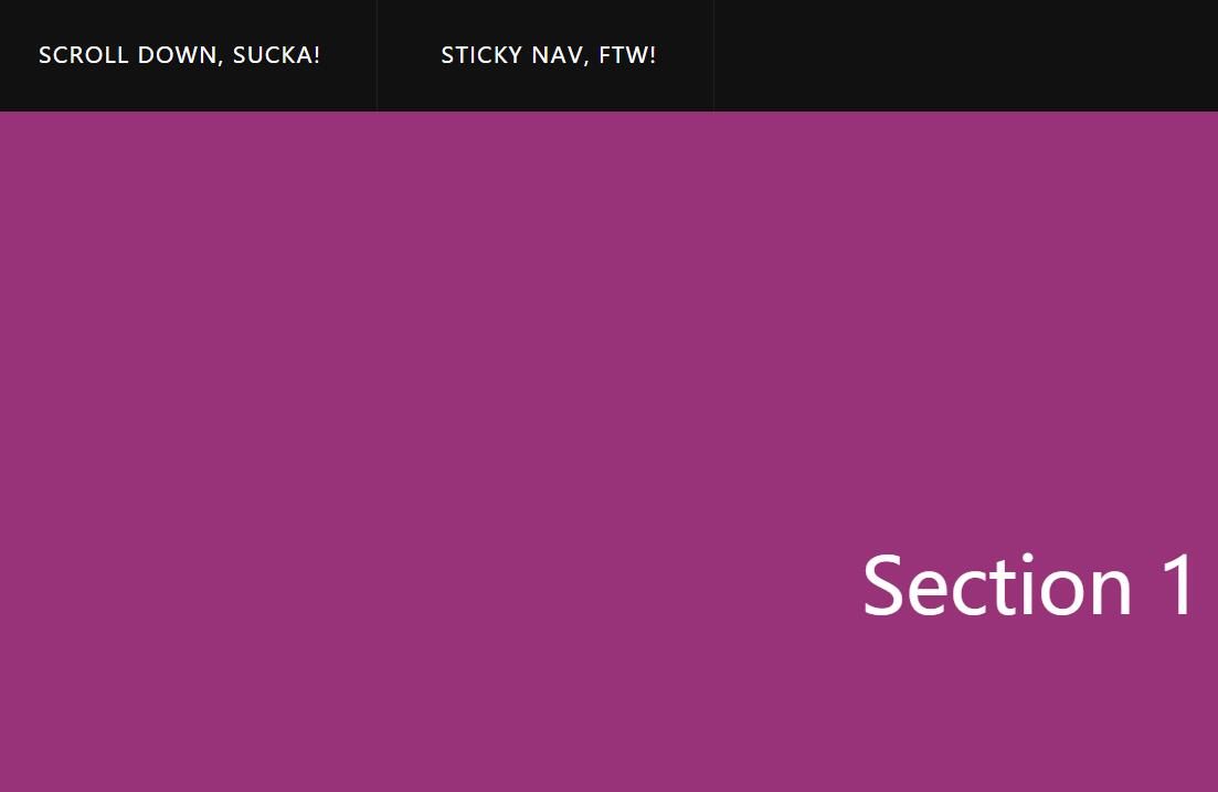 滚动浏览器导航菜单栏悬浮粘贴顶部特效jQuery选择器代码