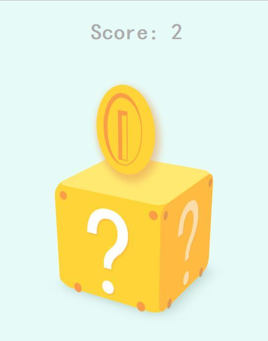 橙色3d立方体图层鼠标点击跳出金币效果css3动画代码