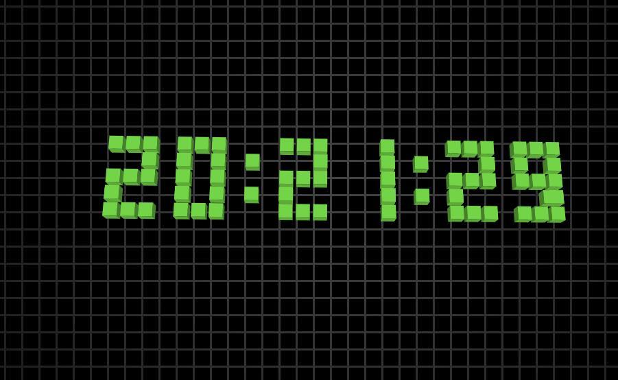 块状数字时钟css3文字3d动画jquery代码