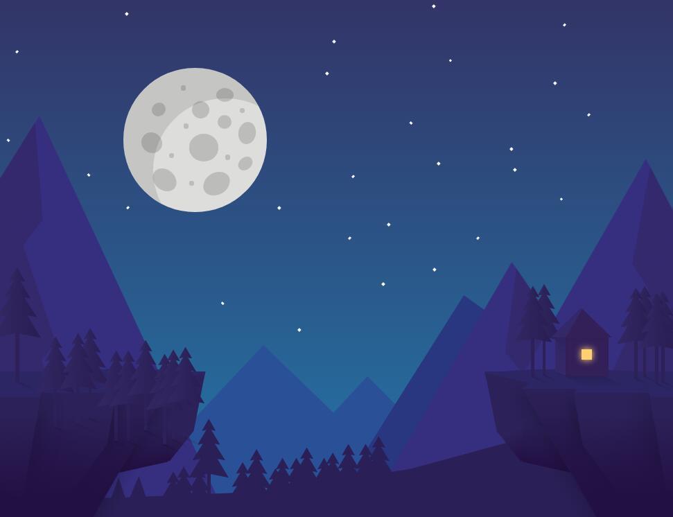 夜景月圆流星动画css3圆形样式特效代码