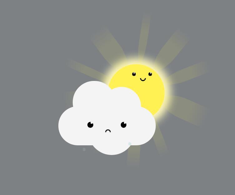 html5模板天气预报白云太阳动画css3样式代码