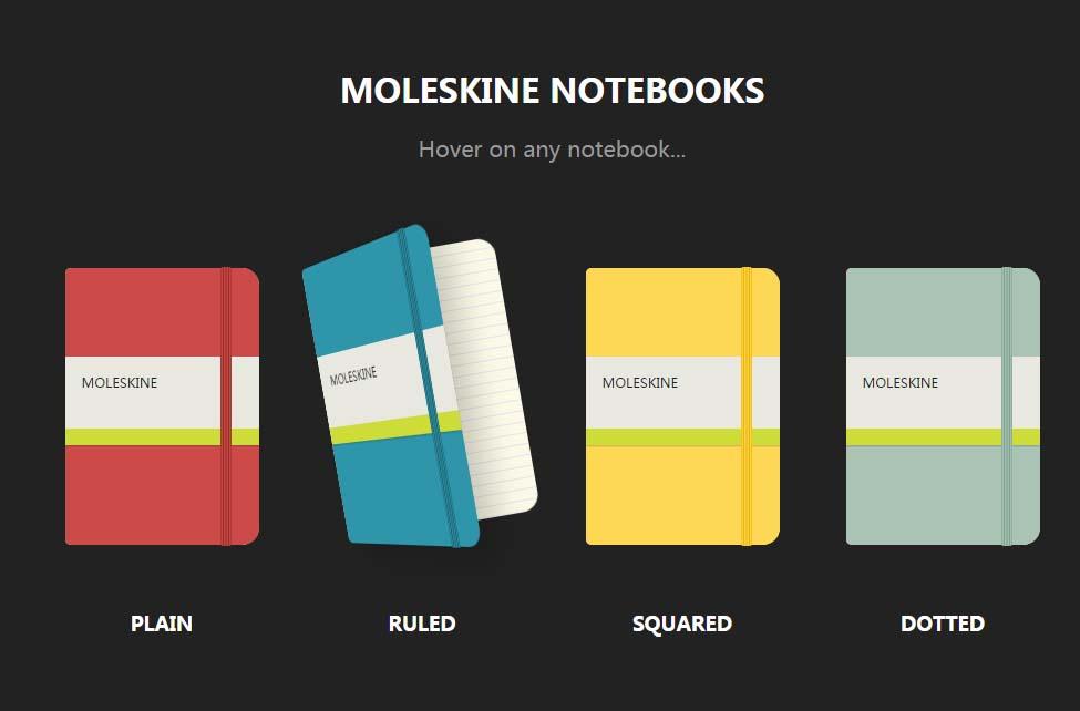 纯CSS Moleskine笔记本鼠标悬浮翻开动画效果样式代码