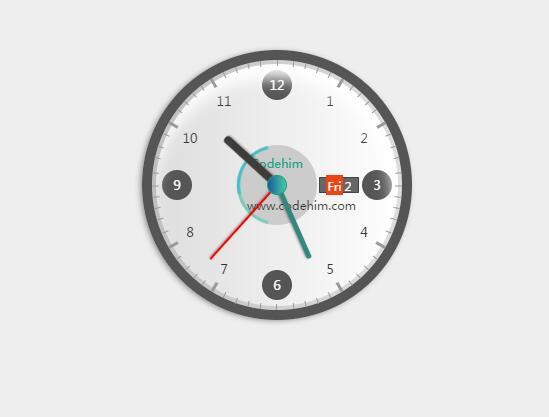 css3圆形逼真圆盘时钟插件电子表jQuery网页代码