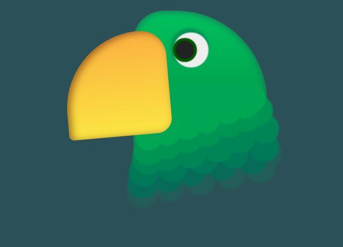 divcss背景颜色绘制鹦鹉头像模型动画效果网页html代码
