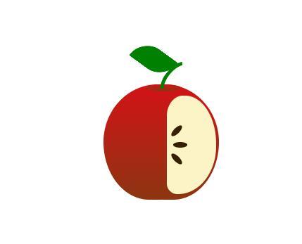 css3绘制缺半边红色苹果样式