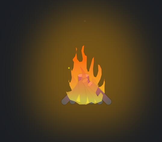 css3木材篝火熊熊燃烧动画特效代码