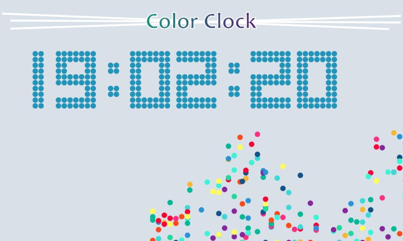 html5 canvas颗粒彩色时间JavaScript代码