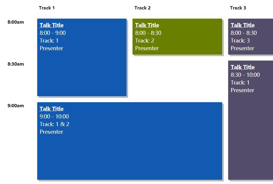 cssdiv会议日程安排表格排版样式代码
