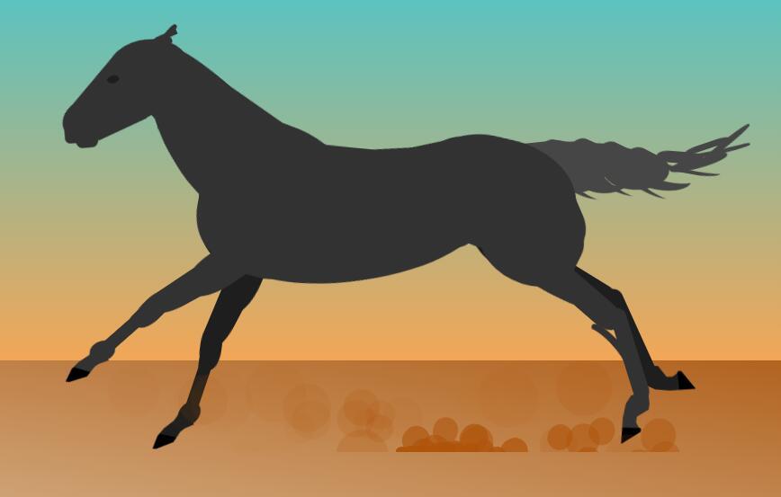 divcss网页代码制作黑色匹马奔腾动画特效