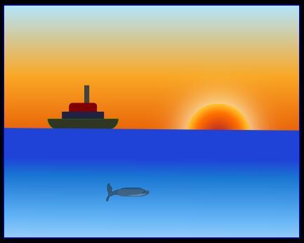 html网页制作海上日落邮轮动画场景css3动画代码