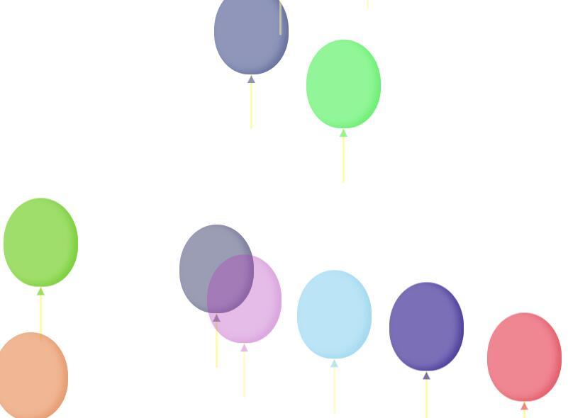 div半透明气球图形升起动画css3代码下载