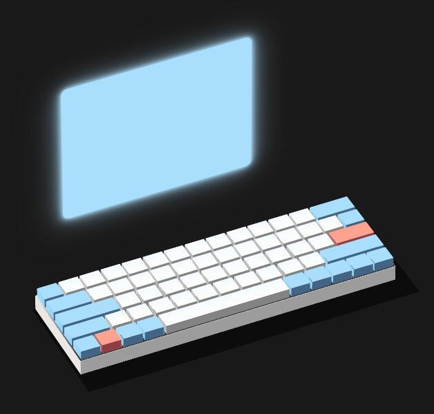 html5css3样式代码绘制3D键盘模型特效
